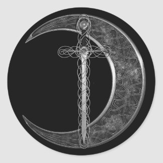 Grey Celtic Sword and Moon Classic Round Sticker
