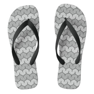 Grey Chainlink Stripes Flip Flops