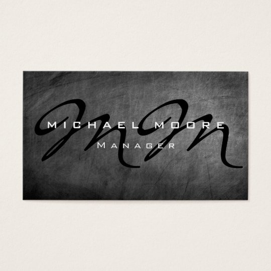 Grey Chalkboard Bold Monogram Minimalist Modern Business Card