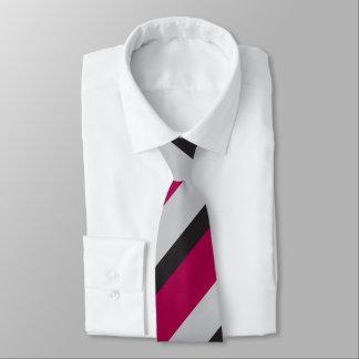 Grey Charcoal & Deep Raspberry Regimental Stripe Tie
