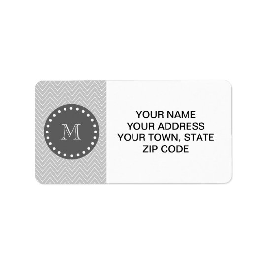 Grey & Charcoal Modern Chevron Custom Monogram Address Label