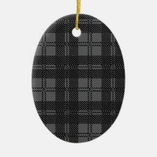 Grey Check Tartan Wool Material Ceramic Oval Decoration