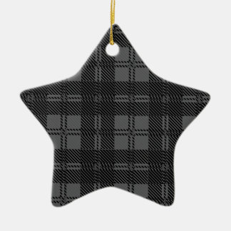 Grey Check Tartan Wool Material Christmas Ornament