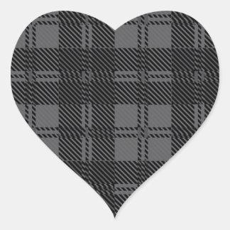 Grey Check Tartan Wool Material Heart Sticker