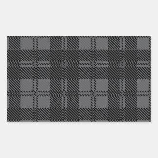 Grey Check Tartan Wool Material Rectangular Sticker