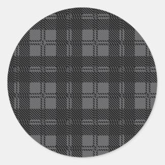 Grey Check Tartan Wool Material Round Sticker