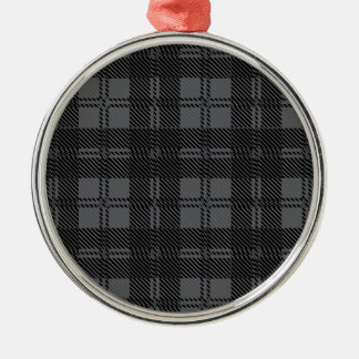 Grey Check Tartan Wool Material Silver-Colored Round Decoration