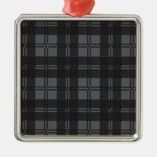 Grey Check Tartan Wool Material Silver-Colored Square Decoration