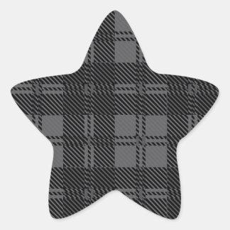 Grey Check Tartan Wool Material Star Sticker