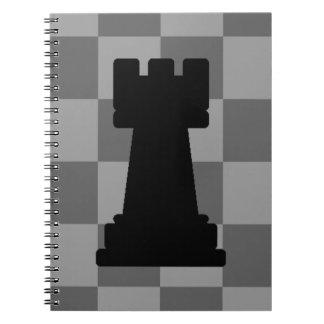 Grey chessboard Rook Notebook