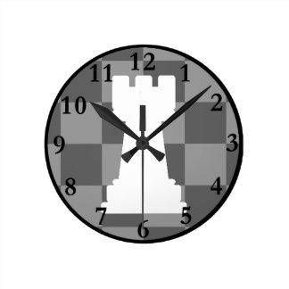 Grey chessboard Rook Round Clock