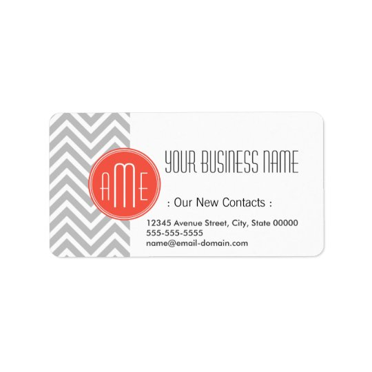 Grey Chevron and Coral Custom Monogram Address Label