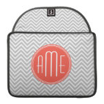 Grey Chevron and Coral Custom Monogram Sleeves For MacBooks