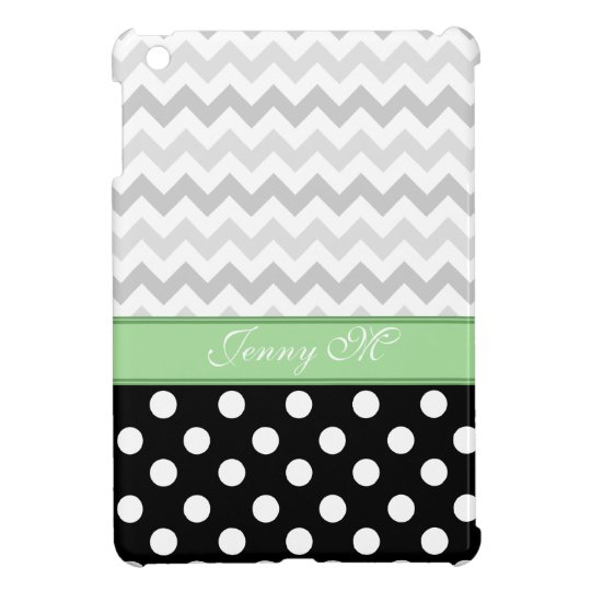 Grey Chevron Black Polka Dot Green iPad Mini Case