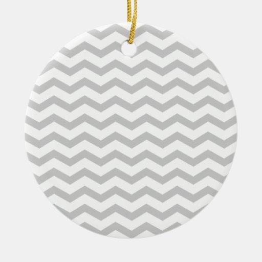 Grey Chevron Christmas Ornament