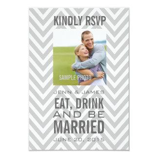 Grey Chevron Eat Drink Be Married Wedding RSVP Card