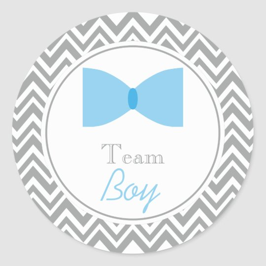 Grey Chevron Gender Reveal Bow Tie Team Boy