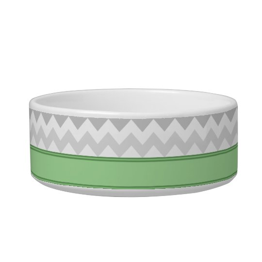 Grey Chevron Green personalised Cat Bowl