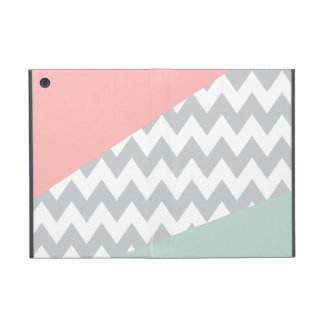Grey Chevron - Mint and Coral Cover For iPad Mini