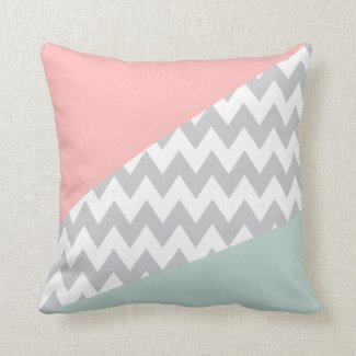 Grey Chevron - mint and coral Cushion