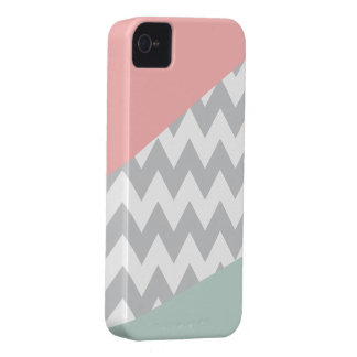 Grey Chevron - Mint and Coral iPhone 4 Covers
