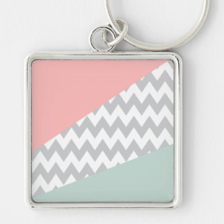 Grey Chevron  Mint and Coral Silver-Colored Square Key Ring