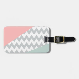 Grey Chevron  Mint and Coral Luggage Tag