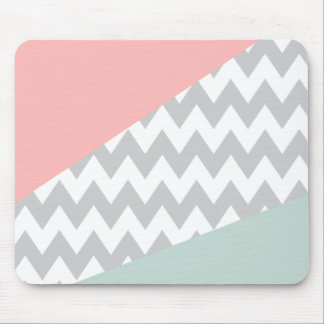 Grey Chevron  Mint and Coral Mouse Mat