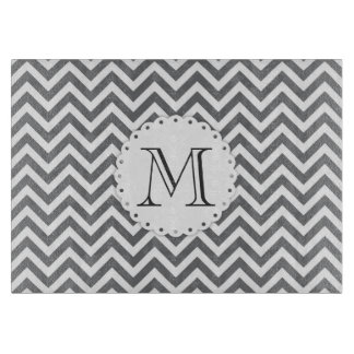 Grey Chevron Monogram Cutting Board