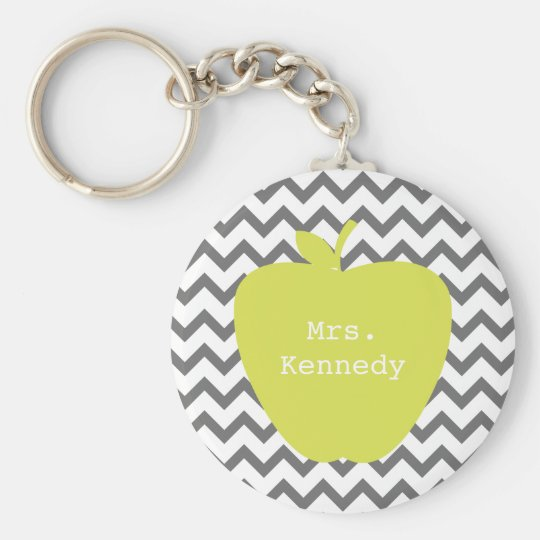 Grey Chevron Neon Apple Teacher Key Ring