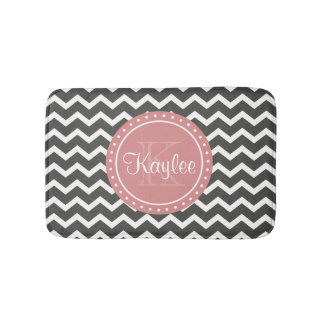 Grey Chevron Pink Monogram Bath Mat