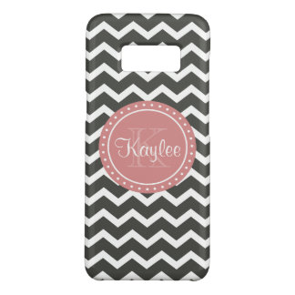 Grey Chevron Pink Monogram Case-Mate Samsung Galaxy S8 Case