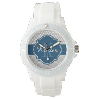 Grey Chevron Quatrefoil Pattern Blue Monogram Watch