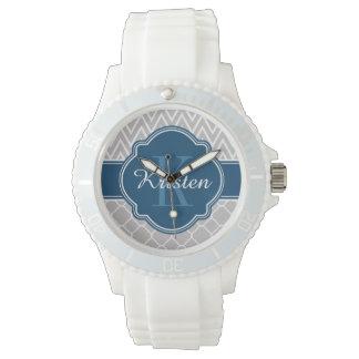 Grey Chevron Quatrefoil Pattern Blue Monogram Wristwatch