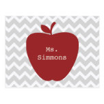 Grey Chevron & Red Apple Teacher Postcard