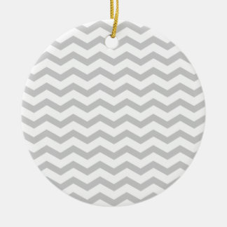 Grey Chevron Round Ceramic Decoration