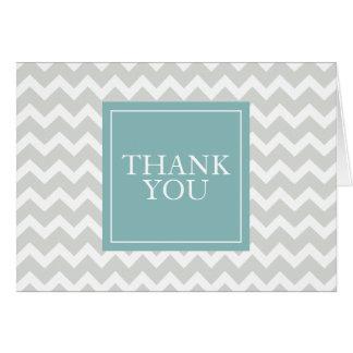 Grey chevron thank you card
