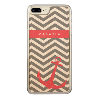 Grey Chevron with Anchor Carved iPhone 8 Plus/7 Plus Case