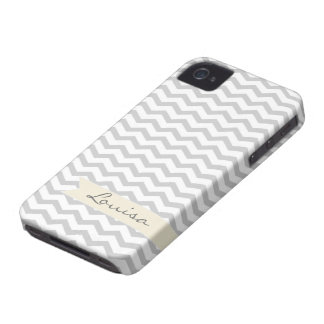 Grey Chevron with beige personalized label iPhone 4 Covers
