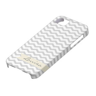 Grey Chevron with beige personalized label iPhone 5 Case