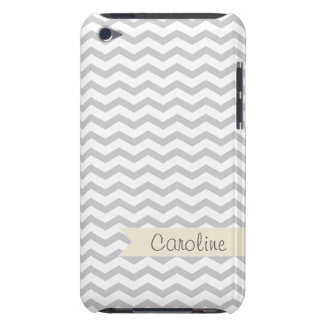 Grey Chevron with beige personalized label iPod Case-Mate Case