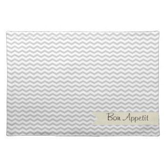 Grey Chevron with beige personalized label Placemat