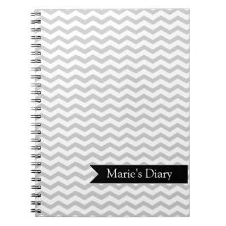 Grey Chevron with Black personalized label Notebook