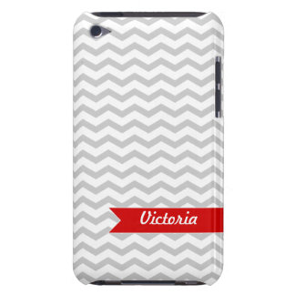 Grey Chevron with Red personalized label Barely There iPod Cover