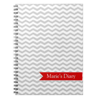 Grey Chevron with Red personalized label Notebook