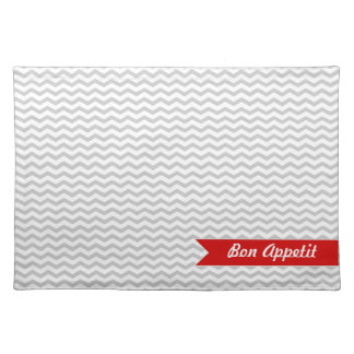 Grey Chevron with red personalized label Placemat