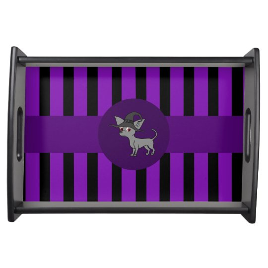 Grey Chihuahua with Witch Hat & Purple Stripes