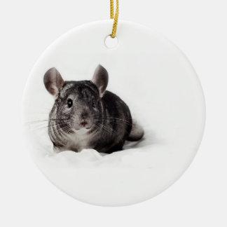 Grey Chinchilla Cute in Blanket Christmas Ornament