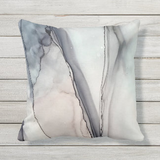 Grey Clash - Inkwork by Karen Ruane Outdoor Cushion