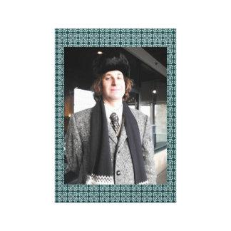 Grey Coat and Fur Hat Canvas Print